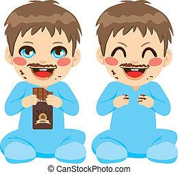 男の赤ん坊, チョコレートを食べること