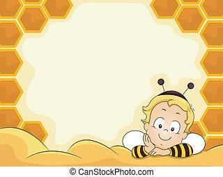 男の赤ん坊, フレーム, ミツバチの巣