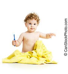 男の赤ん坊, ブラシをかける 歯