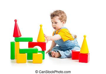 男の赤ん坊, ブロック, 建物, 遊び