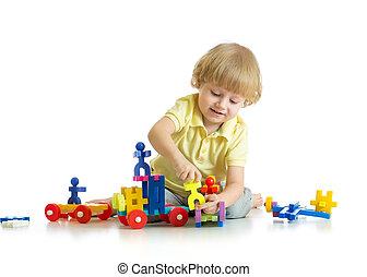 男の赤ん坊, ブロック, 遊び, おもちゃ