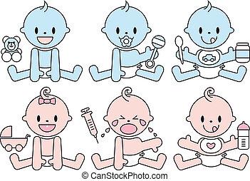 男の赤ん坊, ベクトル, 女の子