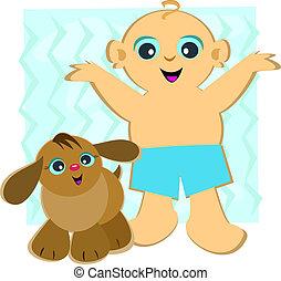 男の赤ん坊, ペット, 子犬