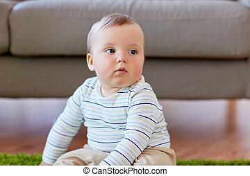 男の赤ん坊, モデル, 家, 床