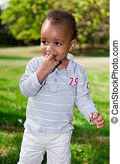 男の赤ん坊, 公園, 遊び, 肖像画