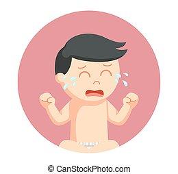 男の赤ん坊, 円, 背景, 叫ぶこと
