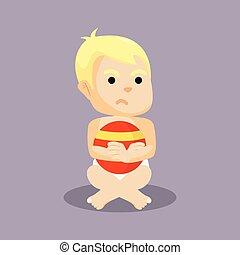 男の赤ん坊, 怒る, 顔