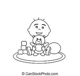 男の赤ん坊, 抱擁, 熊