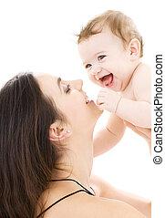 男の赤ん坊, 母, 手