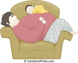 男の赤ん坊, 睡眠, イラスト, お父さん