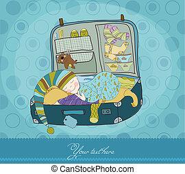 男の赤ん坊, 睡眠, スーツケース