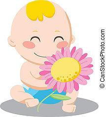 男の赤ん坊, 花