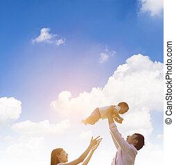 男の赤ん坊, 親, 遊び, 幸せ