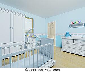 男の赤ん坊, 託児所
