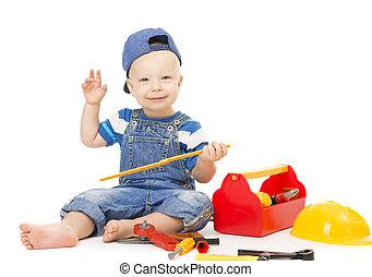 男の赤ん坊, 遊び, 道具, おもちゃ, 子供, ∥で∥, 建設道具, 箱, 隔離された, 上に, 白, 幸せ, 子供, 1 年 古い