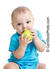 男の赤ん坊, 食べること, 緑のリンゴ