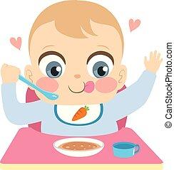 男の赤ん坊, 食べること