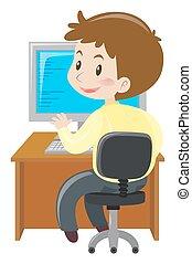 男コンピュータ, 仕事, 机
