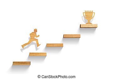 男ラニング, 上に, 階段, へ, 成功