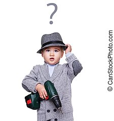 男嬰, 由于, a, 手, drill.