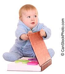 男嬰, 閱讀, 大, 紅色, book.