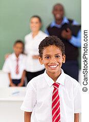 男子生徒, 中に, a, 教室