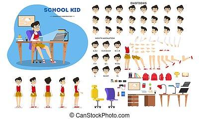 男子生徒, 特徴, セット, ∥ために∥, ∥, アニメーション