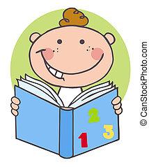 男孩讀, 書, 愉快