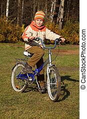 男孩, 上, 自行車, 在, 秋天, 公園, 上, 陽光普照, day., 他, 是, 穿, 短上衣, 以及, hat.