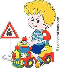 男孩, 上, a, 玩具火車