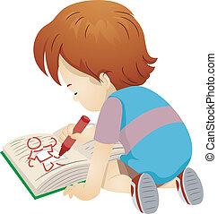 男孩, 书, 图