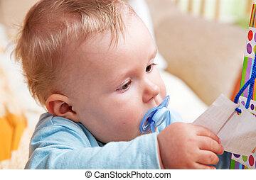 男孩, 他的, 奶嘴, 年輕, 嘴, 嬰孩