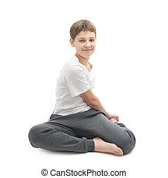 男孩, 伸展, 瑜伽, 年轻, 或者