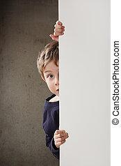 男孩, 偷看, 大約, a, 牆