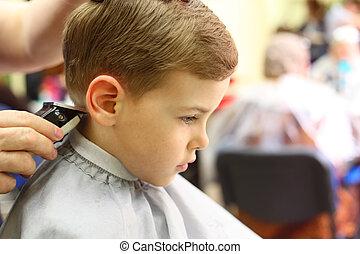 男孩, 傷口, 在, hairdresser\'s, 機器