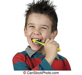 男孩, 刷, 他的, 牙齒