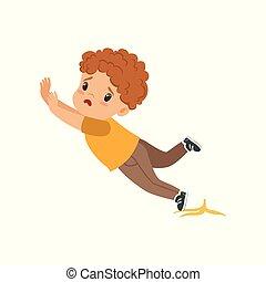 男孩, 剥皮, 描述, 滑落, 矢量, 背景, 白色, 香蕉