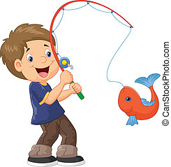 男孩, 卡通漫画, 钓鱼