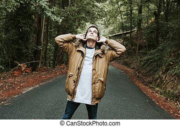 男孩, 喜欢, 在户外, 在中, the, 森林