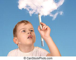 男孩, 圖畫, 雲, 拼貼藝術