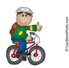 男孩, 在一輛自行車上