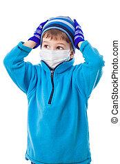 男孩, 在, 冬天衣服, 以及, 醫學, 面罩