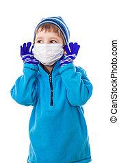 男孩, 在, 冬天衣服, 放, 上, the, 醫學, 面罩