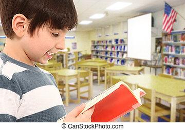 男孩, 在, 圖書館, 讀書