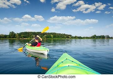 男孩, 在, 救生衣, 上, 綠色, kayak