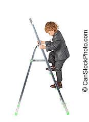 男孩, 在, 衣服, 上升, 上, 直爬梯