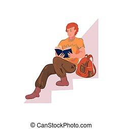 男孩, 大學, 停留, 頭髮, 學生, 樓梯, 紅色