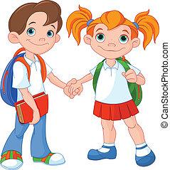 男孩, 女孩, 准备好, 学校