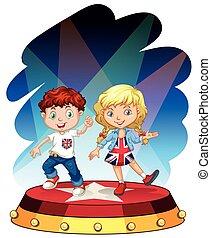 男孩, 女孩, 階段, 跳舞