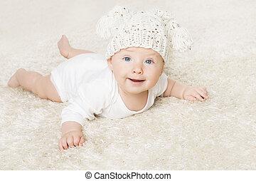 男孩, 婴儿, 毛毯, 老, 月, 六, 孩子, 编织, 肖像, 爬行, 婴儿, 白色, 开心, 帽子, 微笑, 孩子